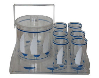 Vintage Acrylic Nautical Sailboat Barware Set - Ice Bucket, Tray, & 6 Tumblers