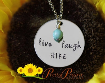Hiking Necklace - Live Laugh Hike Disc Necklace - Stainless Steel Jewelry - Turquoise Stone Necklace - Hiker Lover Jewelry
