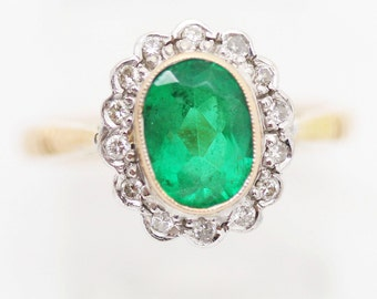 Emerald and Diamond Ring Set in 18k Gold Ring w E.G.L. Certificate (#6041)