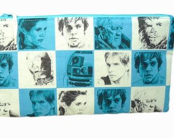 Star Wars Characters Multi Purpose Pouch, Makeup Bag, Gadget Bag, Pencil Case, Princess Leia Hans Solo Obi Wan Kenobi Luke Skywalker Chewy