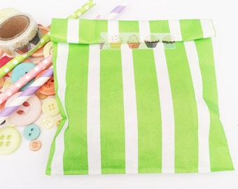 Apple green striped paper bags, Gift bags, packaging. 20X striped paper Snack Sweet Treats bags, party, Cute packaging, baby shower,green