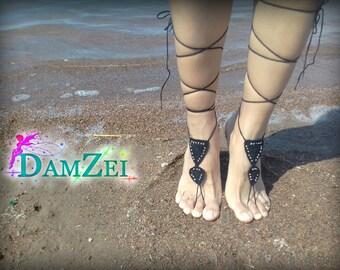 Barefoot Sandal, Black Barefoot Sandal, Lace Barefoot Sandal, Barefoot Anklet, Foot Jewelry