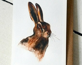 Hand painted Norfolk Hare. Hare card. recycled card and envelope.