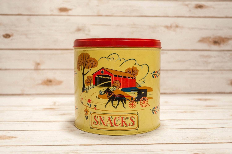 Vintage Yellow Country Kitchen vintage snacks tin pennsylvania dutch amish kitchen decor country