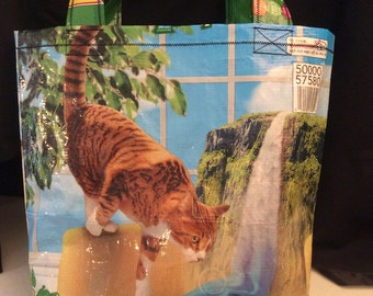 Green friskies cat food bag upcycled cat food bag tote