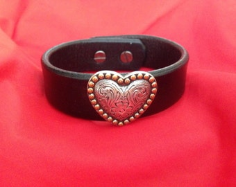 leather heart cuff bracelet