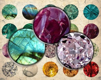 Gemstones, Precious Stones Digital Download - 30mm, 25mm (1 inch) & 20mm circles - Digital Collage Sheet for Bezel Cabochon Pendants, Crafts