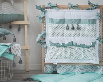 Toys organizer – crib pocket – crib storage – ribbon – white mint