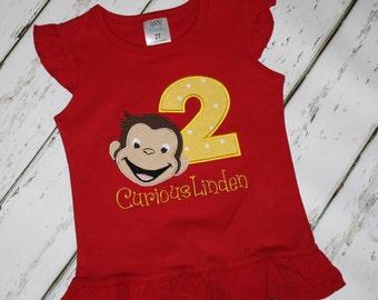 Curious George Birthday tee, Two Birthday tee, second birthday tee, birthday shirt, personalized birthday shirt,