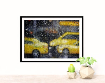 New york taxi oil painting