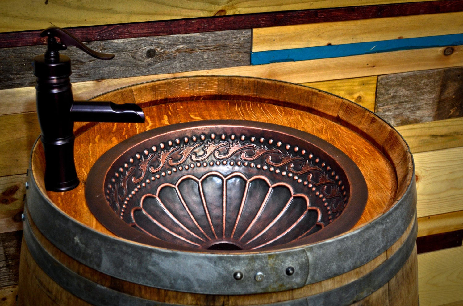 Wine Barrel Copper Sink Vanity