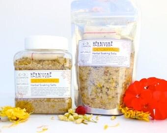 Herbal Bath Salts - Flower Bath Soak - Skin Detoxifying Essential oil infused Bath Salt - Organic Home Spa - Herbal Bath Tea with Muslin Bag