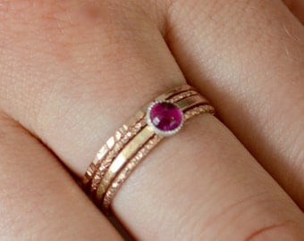 Ruby and 14k Rose Gold Delicate Stacking Rings