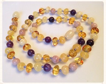 Ladied Baltic Amber & Gemstone Necklace