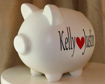 Large Monogrammed Personalized Piggy Bank Engagement Wedding Gift