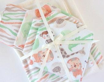 Jungle Baby Blanket Set, 5-piece, Receiving Blanket, Swaddle Blanket, Baby Gift Blanket Set
