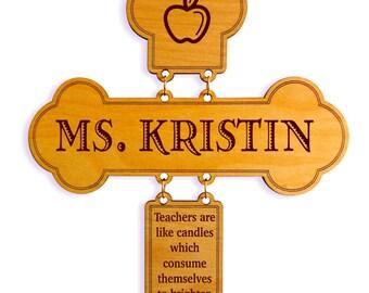 Custom Teacher Appreciation Gift,Teachers are Like Candles Decorative Cross,Teacher Appreciation Week,Thank you Teacher Gift from Student