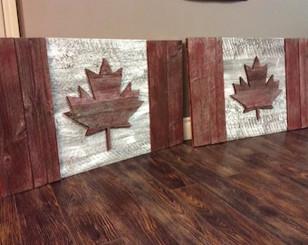Canadian flag, barnwood