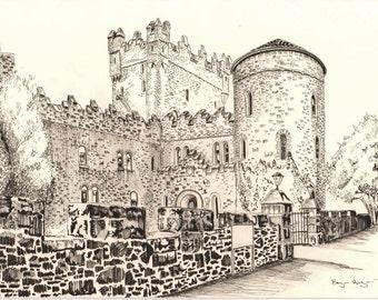 Glenveagh Castle pen drawing