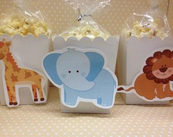 Zoo Animals, Elephants, Monkeys, Lions, Tigers, Monkeys, Giraffes Party Popcorn or Favor Boxes - Set of 10