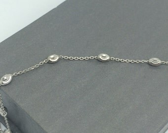 Rhodium Sterling Silver Diamond Cut Bracelet