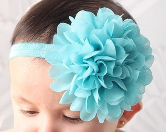 Turquoise flower headband- large flower headband- baby headband- infant headband- girls headband- chiffon flower headband- stretchy hairband
