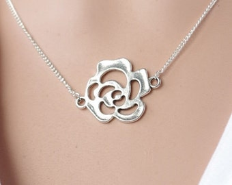 Silver Flower Necklace Flower Necklace Rose necklace Flower necklace Rose pendant necklace Flower jewelry Flower Pendant  Christmas gift