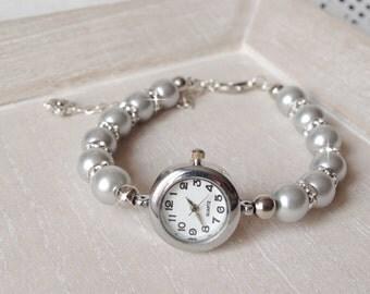 Beaded Bracelet Watch  Pearl Bracelet Watch Bridal  Bracelet Wedding Jewelry Pearl Watch Ladies Watch Womens Watch Christmas Gift for Mom