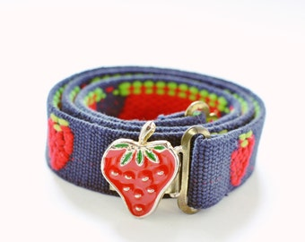 Vintage Strawberry Belt, 1980s, Navy Blue Elastic with Strawberry Buckle, So Cute!!!