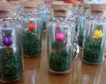 Make-A-Wish Lucky Keychain with Real Flower Mini Cork Bottle
