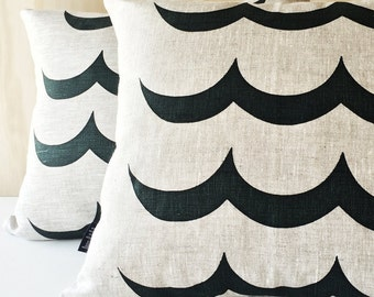 Screen Printed Wave Oatmeal Linen Pillow / Cushion Cover