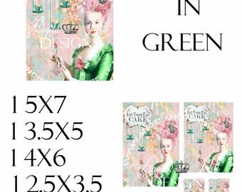 Marie in Green 2 Sheet Digi Photo Set