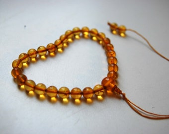 HEARTY - 27 beads baltic amber hand mala for meditation (size Ø7 colour 3), buddhist meditation