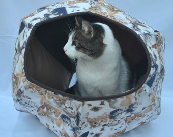 Cat Cave, Cavern for cat-tissue kittens, pet supplies, cat bed, pet furniture, pet house, Handmade, Cat Ball. Cat Cave Kittens