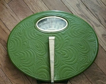 Vintage Counselor Green Vinyl Bathroom Weigh Scale, Mid Century Bath Scale, Retro Bathroom Scale, Green Scale