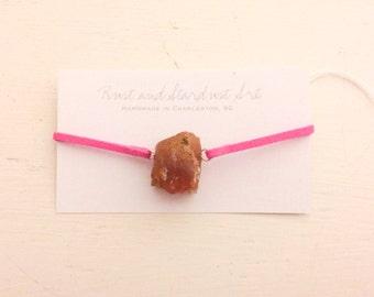 Raw Carnelian Bracelet with Hot Pink Suede