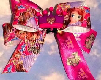 Disney's Sophia the First Bow on a crochet headband