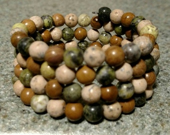 """Handmade 6mm natural stone wire wrap bracelet. All neutral colors. """"Earthy"""""""