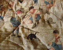 Hand-made vintage childs quilt with boy scout pattern.