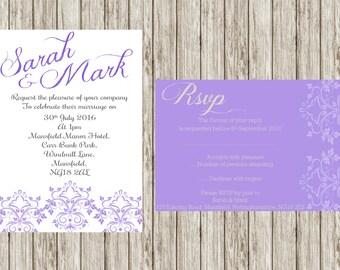 Purple wedding invitation, classic design, Damasks design, custom wedding invitations, matching set, rsvp, party invites