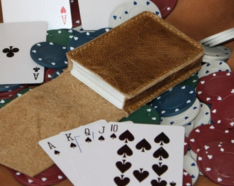Distressed Leather playing card case.  Italian distressed leather, this leather changes shade with use, can be changed back with heat.