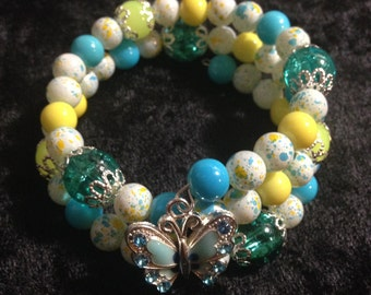Yellow, white, and teal wrap bracelet