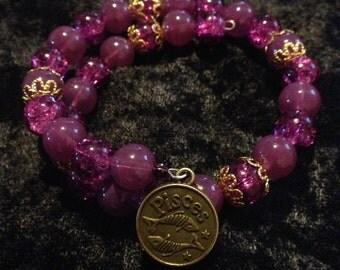 Violet and Purple Pisces wrap bracelet