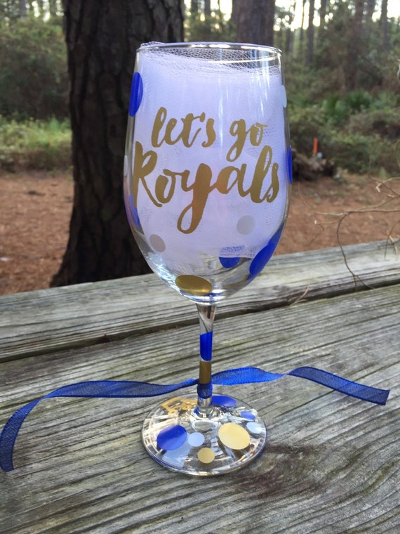 Let 39 s go royals wine glasses Wine glasses to go