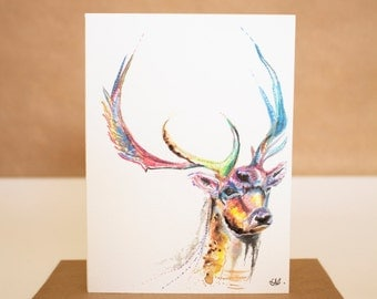 Watercolour Stag Card ~ stag card, deer card, stag art, deer art, watercolour stag, watercolour deer, stag watercolour print