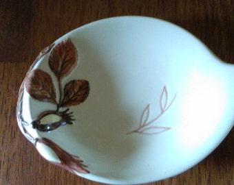 Carltonware handpainted purple hazelnut dishes in green and beige Set of 2