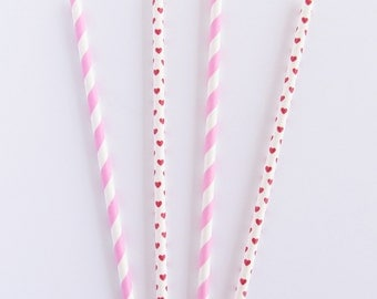 Decorative Paper Straws - 100 Pink and Red Party Straws