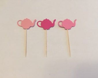 24 Assorted Pink Teapot Toothpicks, Tea Party Cupcake Toppers, Baby Shower, Tea party Theme, Appetizer Picks, Tea Party birthday party