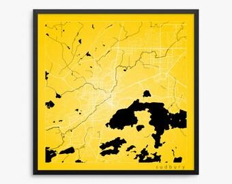 Sudbury City Street Map, Sudbury Canada, Modern Art Print