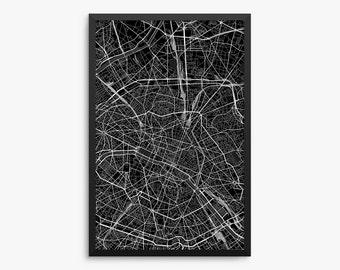 Paris Street Map, Paris France, Modern Art Print, Paris Gift, Paris Decor, France Decor, Office Decor, Home Decor, Gift Idea